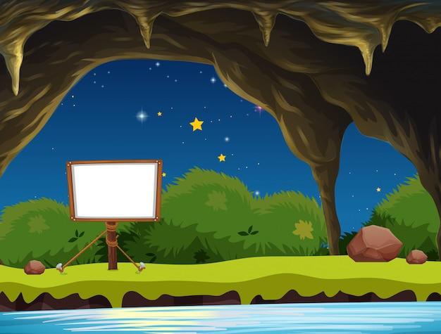 洞窟の空の看板