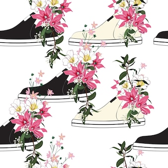 スニーカーでピンクの花が咲く