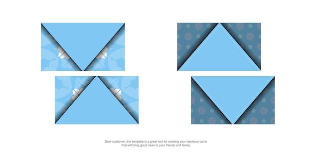 あなたの個性のためのヴィンテージの白い装飾が施された青い名刺。