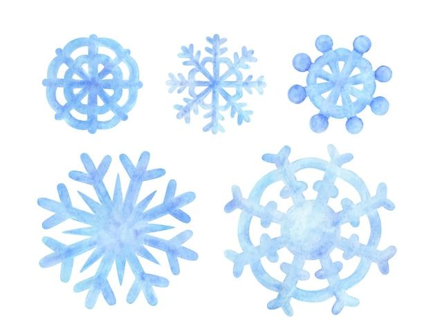 Голубая снежинка. акварельные иллюстрации снежных хлопьев. набор зимних мультфильмов для наклеек, дизайна, печати