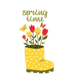 花の花束と「春の時間」の文字が入ったブーツ。