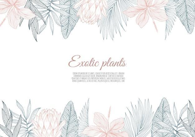 花の熱帯のヤシの葉と花で飾られたボーダーフレームのデザイン。