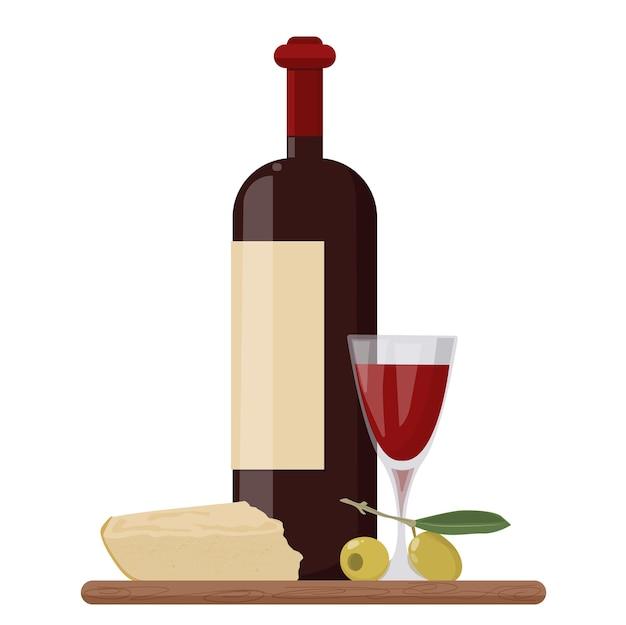 레드 와인 한 병, 채워진 유리, 파마산 치즈, 올리브. 벡터