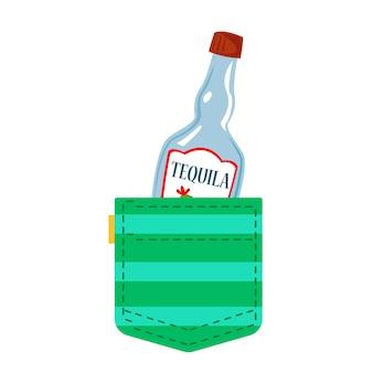테킬라 한 병이 녹색 주머니 멕시코 전통 알코올에서 엿보고 있습니다