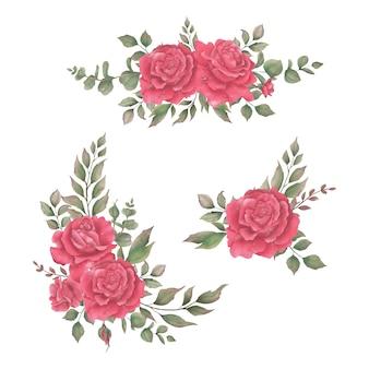 美しい水彩画の赤いバラの花束