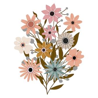 정원에서 잎이 달린 다양한 아름다운 야생화의 꽃다발. 꽃과 줄기가 있는 다양한 꽃 식물. 결혼식 장식, 인사 및 선물. 요소는 격리되고 편집 가능합니다.
