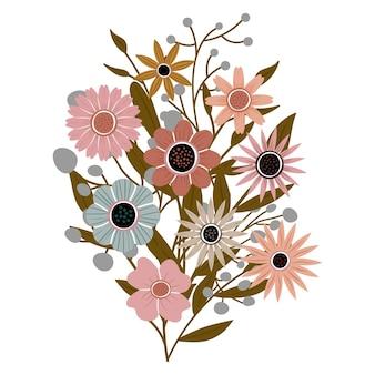 정원에서 잎을 가진 다른 아름다운 야생화의 꽃다발. 꽃과 줄기가 있는 다양한 꽃 식물. 결혼식 장식, 인사 및 선물. 요소는 격리되고 편집 가능합니다.
