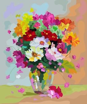 테이블 위의 꽃병에 있는 꽃다발 꽃은 빨간색 보라색 주황색입니다.