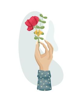 女性の手に花の花束。ドライフラワー、植物標本