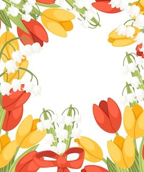 赤いリボンのイラストと花の花束