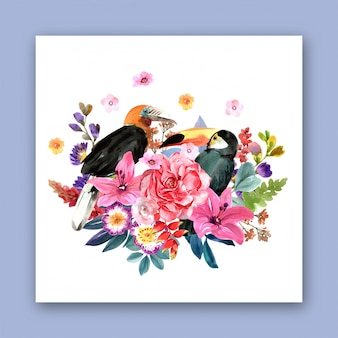 Букет цветов с птицей для дизайна. премиум вектор