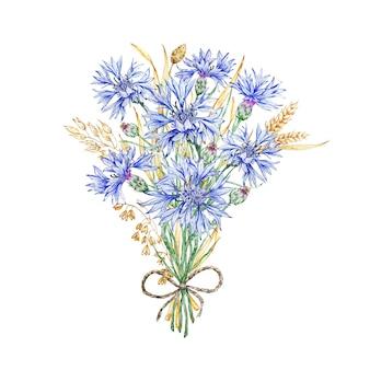 수레 국화와 말린 꽃의 야생화 꽃다발. 섬세하게 피는 수레 국화. 콘 플라워 블루. 수채화 배경