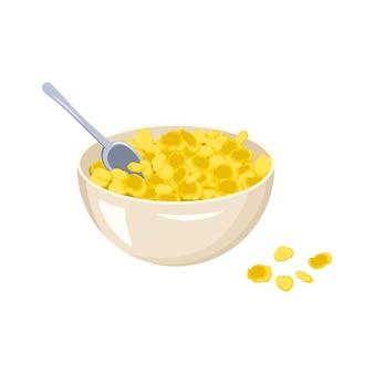 コーンフレークのボウルとスプーン。ファーストフードの朝食または軽食