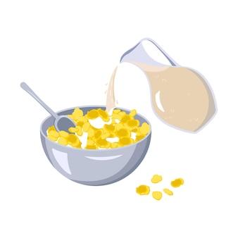 コーンフレークのボウルとスプーンミルクが水差しからファーストフードの朝食のプレートに注がれます...