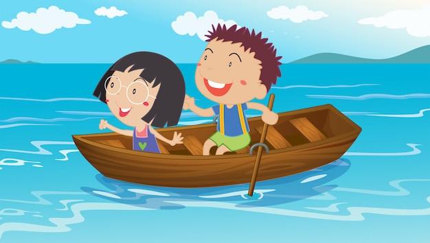 男の子と女の子がボート