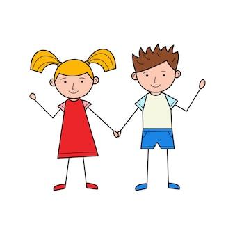 소년과 소녀가 손을 잡고 있습니다. 귀여운 캐릭터들. 손으로 선형 그림입니다. 다채로운 벡터 일러스트 레이 션