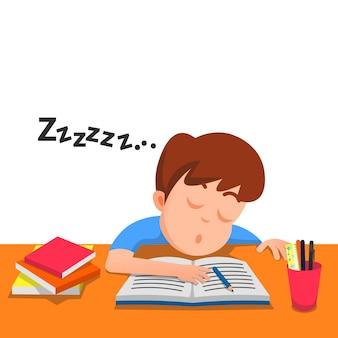 공부하는 동안 테이블에서 자고있는 소년