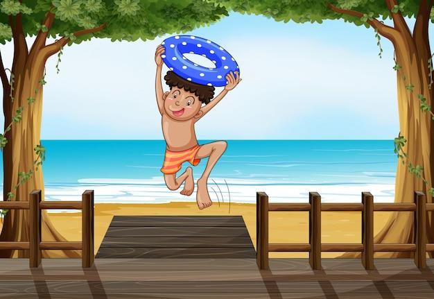 해변에서 소년