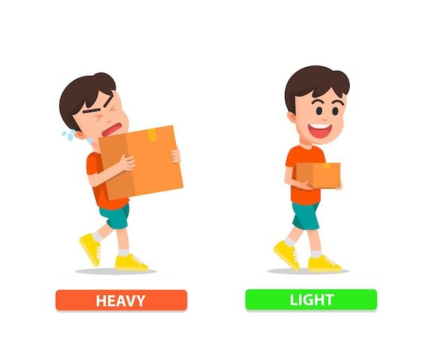 重い段ボールと軽い段ボールを運ぶ少年