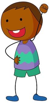 Мальчик мультипликационный персонаж в стиле каракули изолированные