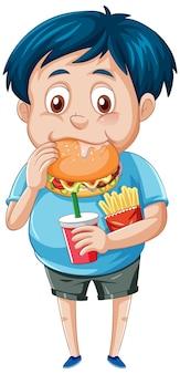 Мальчик ест фастфуд на белом фоне