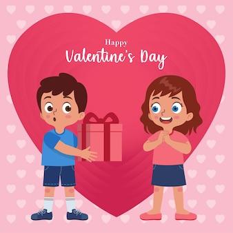 소년은 분홍색 배경으로 발렌타인 데이에 소녀에게 선물 상자를 제공합니다