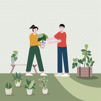 男の子は庭でさまざまな仕事をしている女の子を助けます