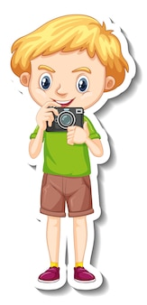 카메라 만화 캐릭터 스티커를 들고 소년