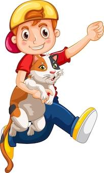白い背景で隔離のかわいい猫の漫画のキャラクターを保持している少年 Premiumベクター