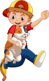 흰색 배경에 고립 된 귀여운 고양이 만화 캐릭터를 들고 소년