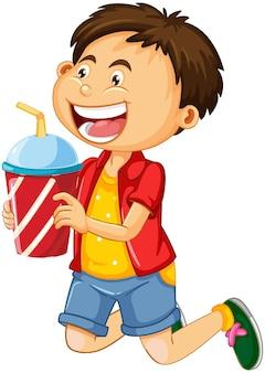 白い背景で隔離のドリンクカップの漫画のキャラクターを保持している少年