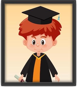 フォトフレームの卒業衣装の少年