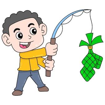 Мальчик ловит рыбу для особой еды eid al fitr, векторные иллюстрации. каракули изображение значка каваи.