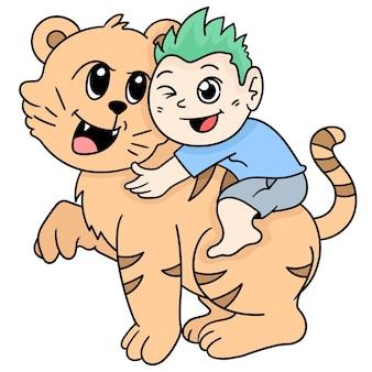 한 소년이 애완용 호랑이를 타고 있습니다. 만화 삽화 스티커 이모티콘