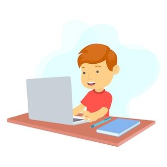 한 소년이 방에서 노트북을 사용하여 온라인으로 공부하고 있습니다.