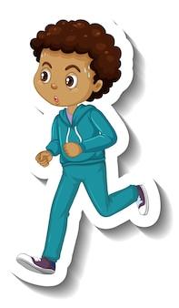 漫画のキャラクターのステッカーをジョギングしている少年