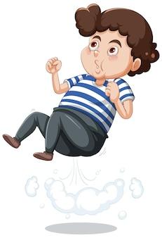 漫画のキャラクターのステッカーをジャンプする少年