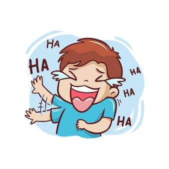 とても幸せなイラストを笑っている少年