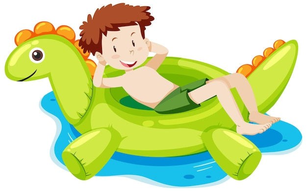 孤立した水の中の恐竜の浮き輪に横たわっている少年