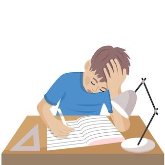 少年は机の上で学ぶ孤立したベクトル図