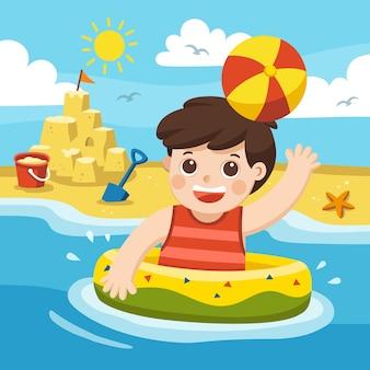 Мальчик играет и плавает в море. с праздником на пляже.