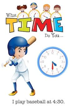 A boy play baseball at 4:30