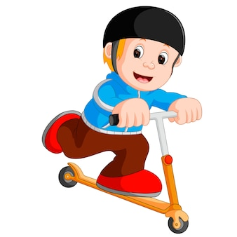 A boy playing push bicycle