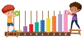 A boy playing with abacus