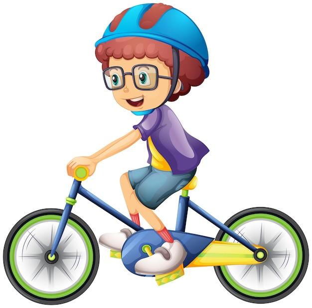 흰색에 고립 된 자전거 만화 캐릭터를 타는 소년