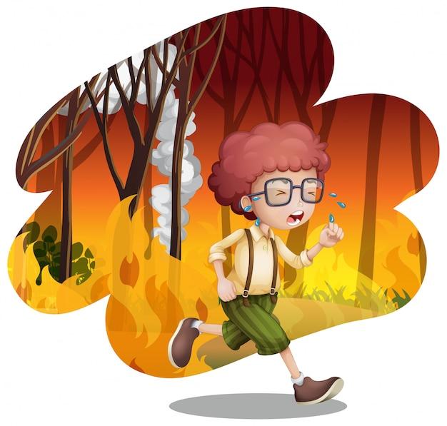 산불에서 뛰는 소년