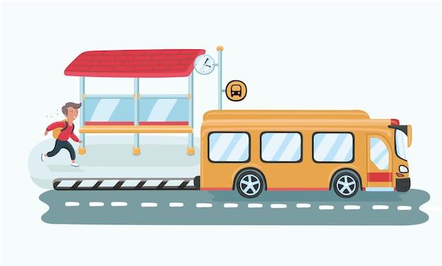 Мальчик бежит за школьным автобусом