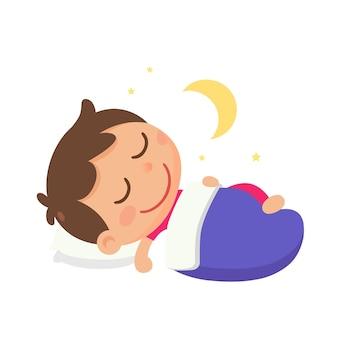 Мальчик спит на кровати ночью в векторном стиле плоской иллюстрации спит