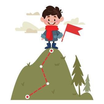 한 소년이 산 꼭대기에 서서 성공의 개념을 들고 있다