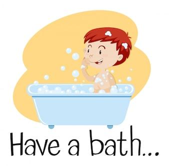 A Boy Taking a Bath